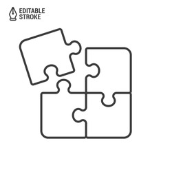 Puzzle pieces. Outline vector icon with editable strokes