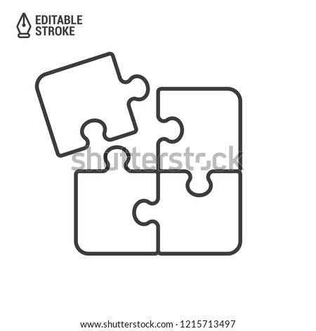 Puzzle pieces. Outline vector icon with editable strokes Foto stock ©