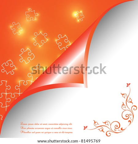 Puzzle pieces vector design glowing