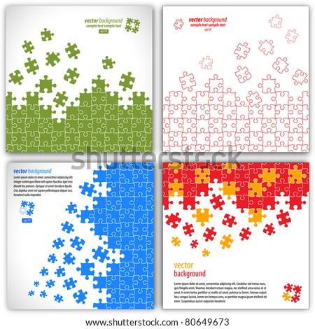 Puzzle pieces vector design set