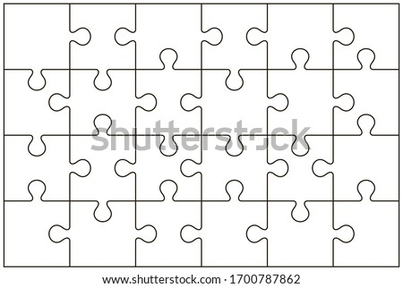 Puzzle pieces vector illustration isolated on white background