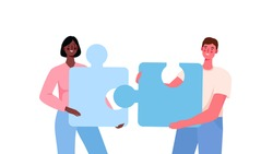Puzzle relationship concept. Team metaphor. Couple connecting puzzle elements.Vector cartoon illustration. Relationship, friendship or coworkers. Man and woman on white isolated background.