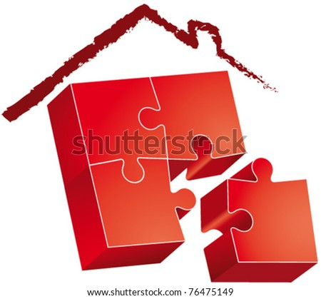 Puzzle-roofed house hand-drawn - stock vector