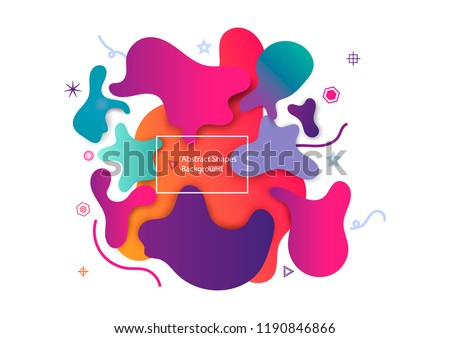 Puzzle style liquid shape abstract background. Decorative art elements for poster, banner, print, children. Color template layout. Eps10 vector illustration.
