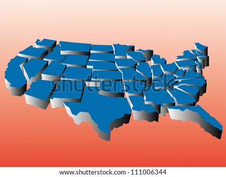 Puzzle style movable piece state map of the united states