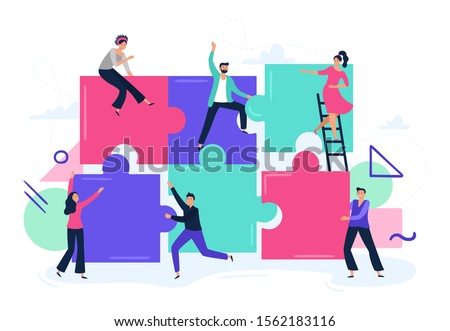 Puzzle teamwork. People work together and connect puzzle pieces, business office workers team cooperation. Teamwork partnership metaphor, workers unity flat vector illustration