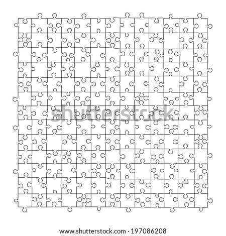 Puzzle template 169 pieces vector