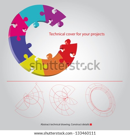 Puzzle vector for your text - stock vector