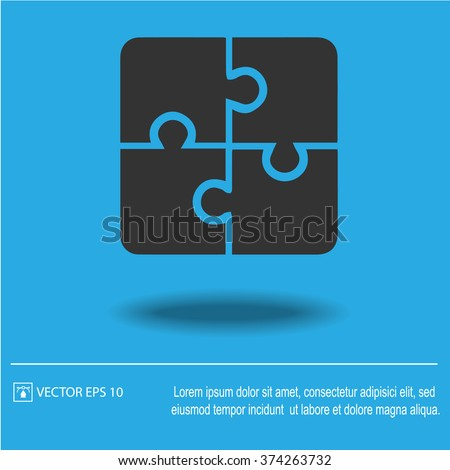 Puzzle vector icon. Creative group symbol. Cooperation.