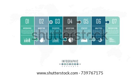 Puzzle vector timeline infographics for chart, diagram, web design, presentation, workflow layout