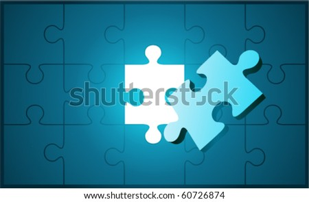 Puzzle with 3d pie vector background