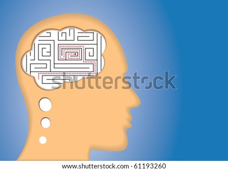 Puzzled Brain/Mind. maze inside of the head. Concept of confusing, lost, solution, etc.
