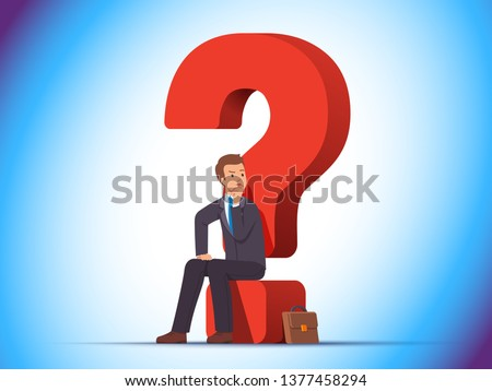 Puzzled business man sitting on a question mark, thinking, contemplating, asking himself important question. Hard choice in uncertainty concept. Flat vector character illustration