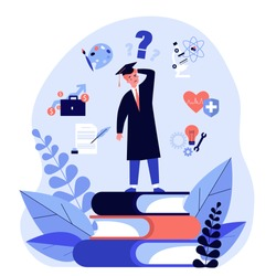 Puzzled student making choice about his future career path flat vector illustration. Young guy choosing college and needing guide from advisor. Education and university concept.