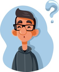 Puzzled Teenager Asking Questions Vector Cartoon. Funny teenager thinking and questioning what he knows