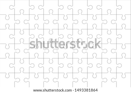 Puzzles blank template with linked rectangle grid. Jigsaw puzzle 9x6 size with 54 pieces. Mosaic background for thinking game with join details. Vector illustration.