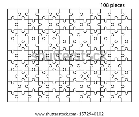 Puzzles grid. Jigsaw puzzle 108 pieces, thinking game and 9x12 jigsaws detail frame