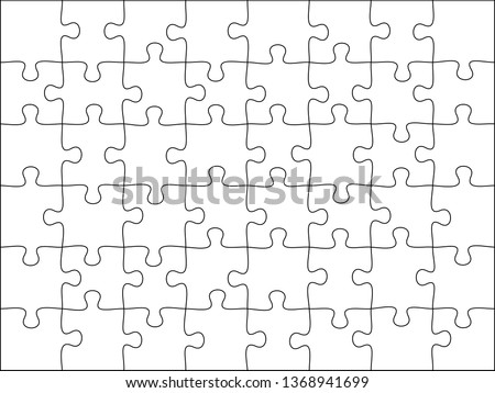 Puzzles grid template. Jigsaw puzzle 48 pieces, thinking game and 8x6 jigsaws detail frame design. Business assemble metaphor or puzzles game challenge vector illustration
