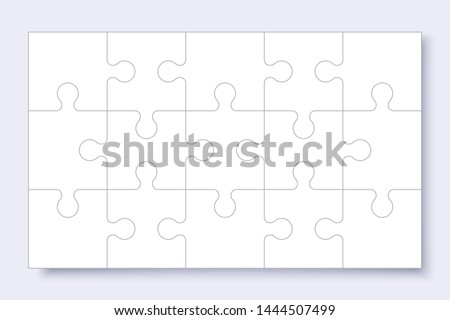 Puzzles grid template. Jigsaw puzzle with pieces, thinking game, jigsaws detail frame for business presentation with shadow. Сoncept of success in solving mosaic. Vector illustration.