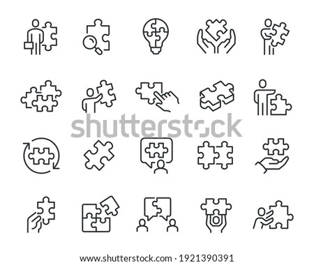 Puzzles with Business People Icons Set. Collection of simple linear web icons such as Hand with a Puzzle, Bulb in the form of a puzzle, Assemble and Unite Puzzle, Dialogue in the form of a Puzzle and