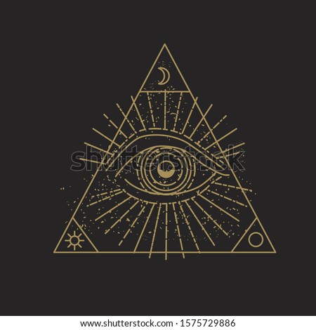 Pyramid and shining All seeing eye of Divine providence symbol. Alchemy, religion, spirituality, occultism tattoo art in cartoon linear style.