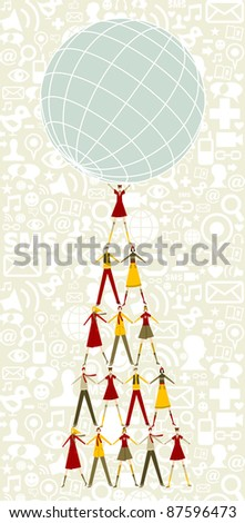 Pyramid as Christmas tree of people holding the world with social icons pattern background.