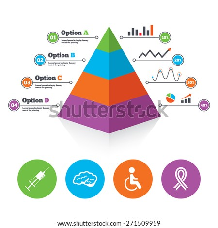 Pyramid Chart Template. Medicine Icons. Syringe, Disabled, Brain ...