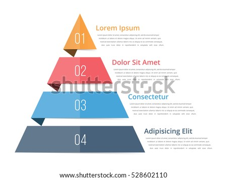 Shutterstock Pyramid chart template, pyramid infographics, four steps infographics, vector eps10 illustration