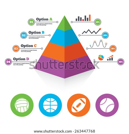 Pyramid chart template. Sport balls icons. Volleyball, Basketball, Baseball and American football signs. Team sport games. Infographic progress diagram. Vector