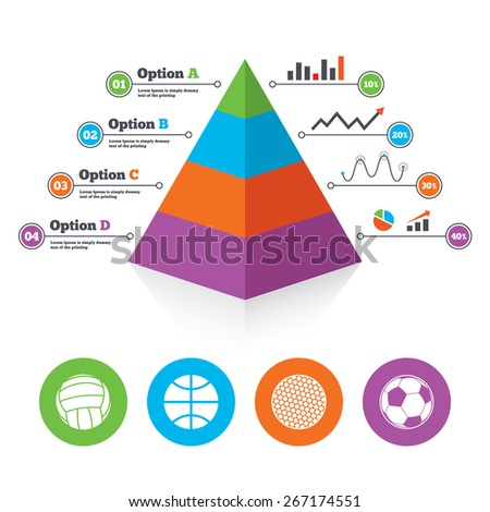Pyramid chart template. Sport balls icons. Volleyball, Basketball, Soccer and Golf signs. Team sport games. Infographic progress diagram. Vector