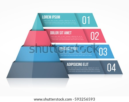Shutterstock Pyramid chart with four elements with numbers and text, pyramid infographic template, vector eps10 illustration