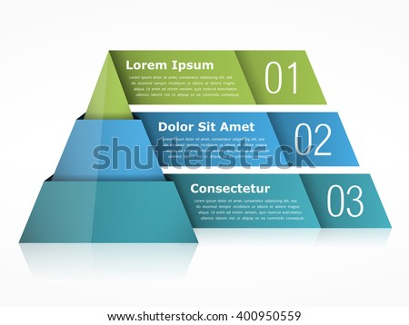 Pyramid chart with three elements, vector eps10 illustration