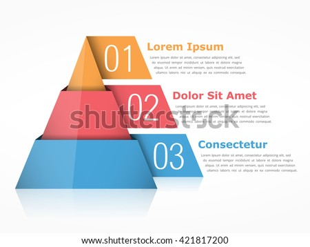 Pyramid chart with three segments, vector eps10 illustration