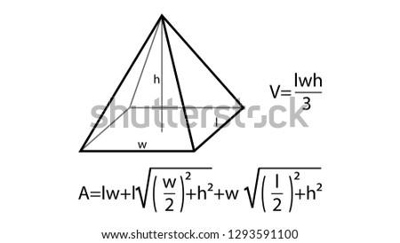 Pyramid formulas vector. Geometry vector. Geometry formulas