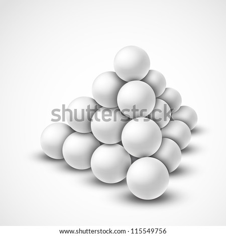 Pyramid from grey balls. Eps 10 - stock vector