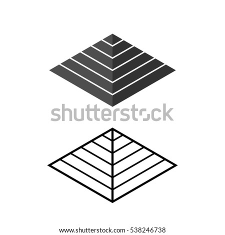 Pyramid icon in isometric style, vector