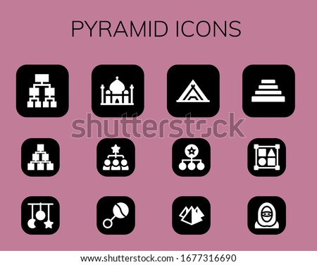 pyramid icon set 12 filled