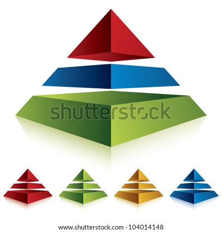 Pyramid icon with three layers, vector business concept icon. Set of color versions.