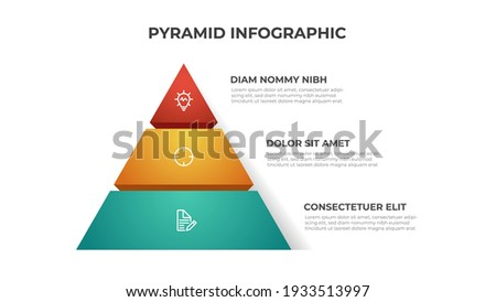 Pyramid infographic element template with 3 list and icons, layout vector for presentation, banner, brochure, flyer, report, etc. Сток-фото ©