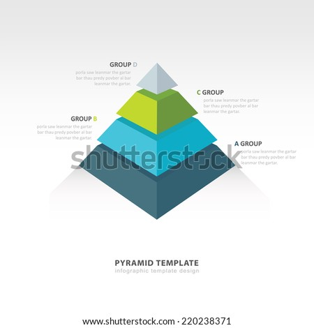 pyramid  infographic template 4 color