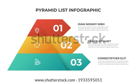 Pyramid infographic template vector with 3 list, layers, options, steps. Layout element for presentation, report, banner, etc. Сток-фото ©