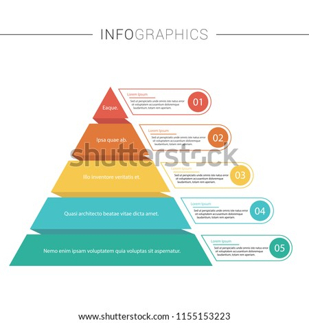 Pyramid Infographics template with 5 options and charts. Vector eps10 illustration.