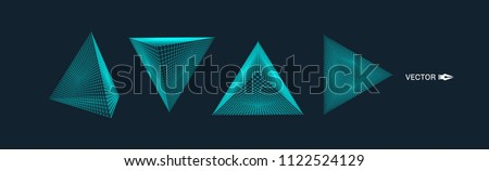 Pyramid. Molecular grid. 3d technology style. Vector illustration. Futuristic connection structure for chemistry and science.