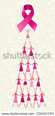 Pyramid of women holding one pink breast cancer ribbon on icon set background. Vector file layered for easy manipulation and custom coloring.
