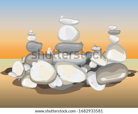 pyramid pebbels stones garden