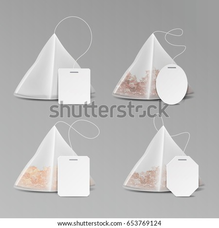 Pyramid Shape Tea Bag Set. Mock Up With Empty Square, Rectangle Labels. 3D Realistic Teabag Template. Vector Illustration