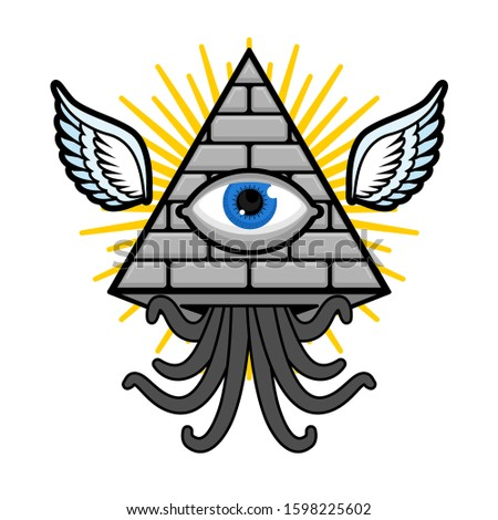Pyramid with an eye. All-seeing eye. Symbol of world government. Illuminati conspiracy theory. sacred sign