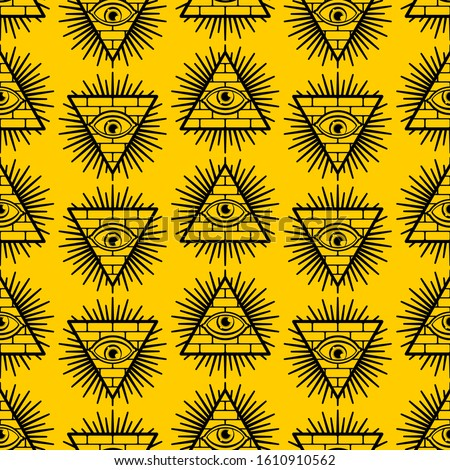 Pyramid with an eye pattern seamless. All-seeing eye background. Symbol of world government. Illuminati conspiracy theory texture. sacred sign ornament