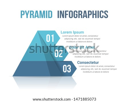 Pyramid with three segments, infographic template for web, business, reports, presentations, etc, vector eps10 illustration
