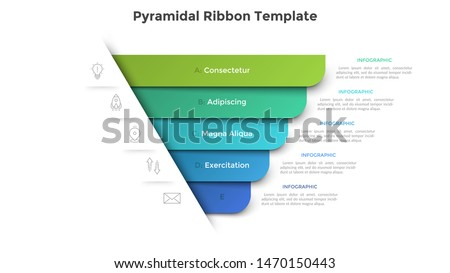 Pyramidal diagram with five colorful paper ribbon elements. Concept of 5 business options to choose. Creative infographic design template. Realistic vector illustration for website menu, banner.